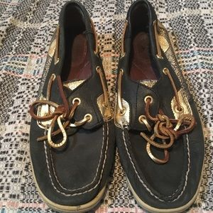 Black & Gold Sperrys